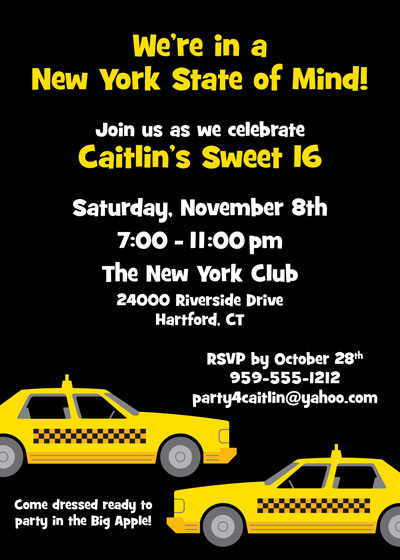 New York Taxis Invitation