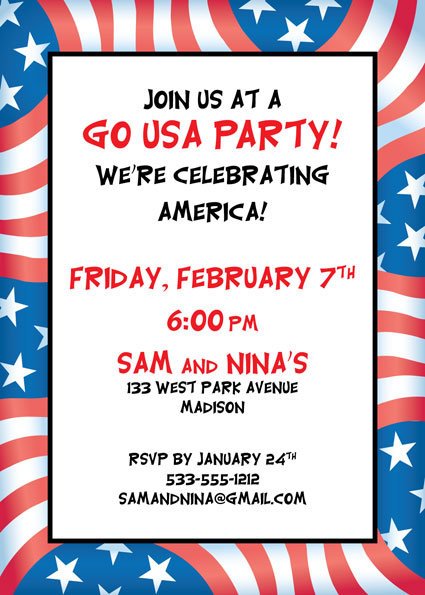Patriotic Flag Party Invitation