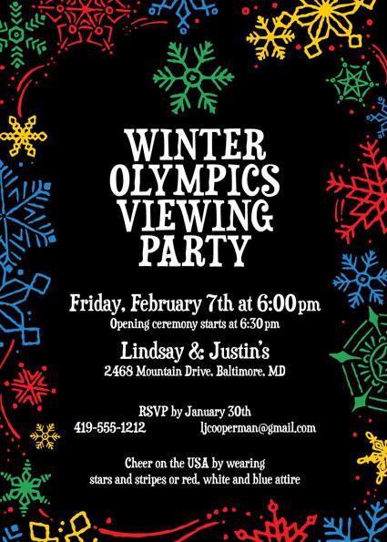 Winter Snowflakes Olympics Invitation
