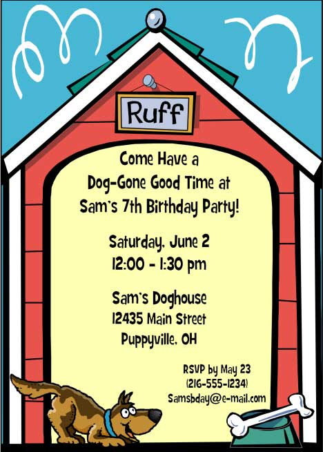 Puppy Dog Theme Party Invitation
