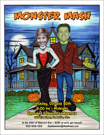 "Halloween ""Add a Face"" Invitation, Frankenstein Couple"