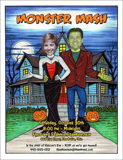 "Halloween ""Add a Face"" Invitation, Frankenstein Couple"