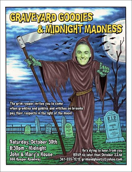 """Halloween """"Add a Face"""" Invitation, Grim Reaper"""