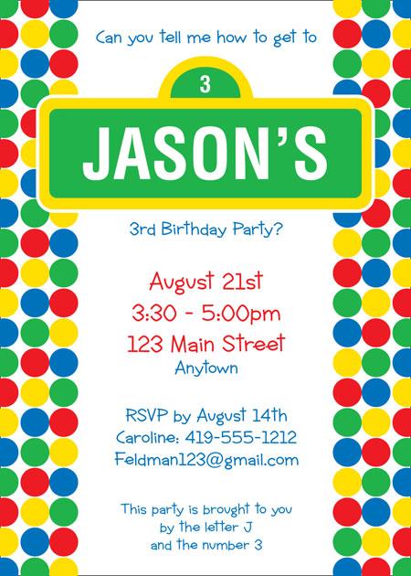 Birthday Sesame Street Invitation