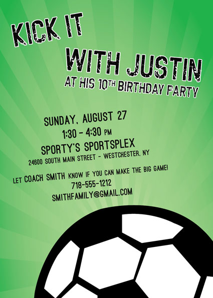 Soccer Ball Party Invitation
