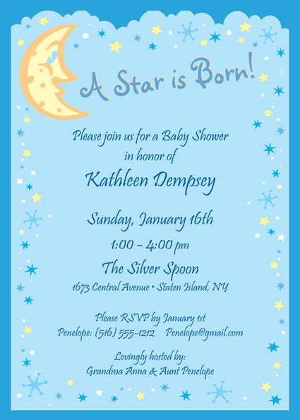 Baby Shower Stars and Moon Invitation