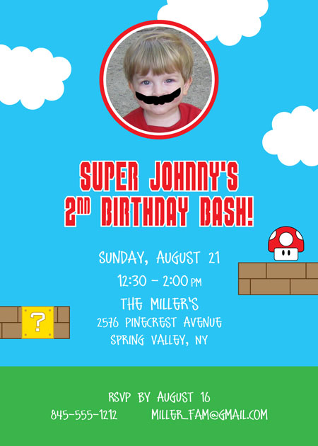 Birthday Super Mario Brothers Invitation