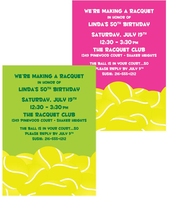 Tennis Theme invitation