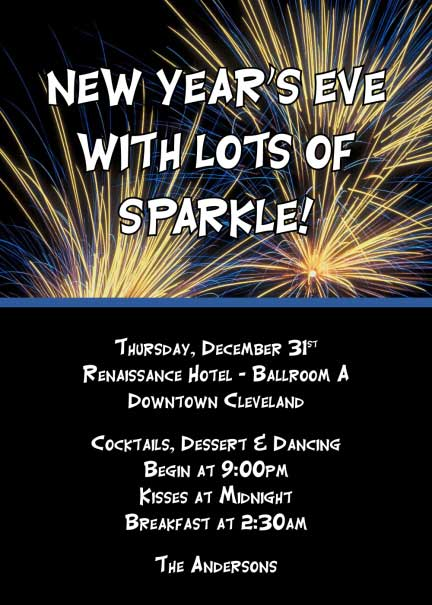 New Years Eve Fireworks Invitation
