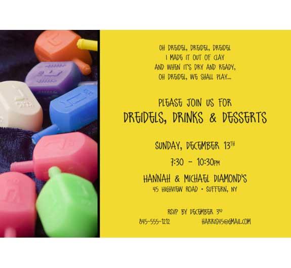 Chanukah Dreidel Invitation