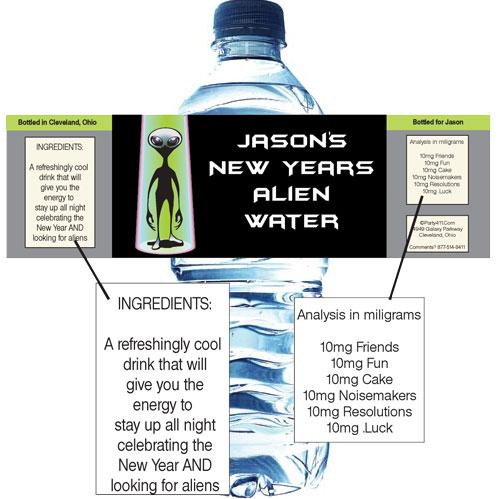 Space Aliens Theme Water Bottle Label