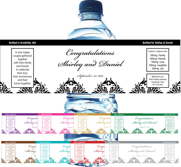 Classic Damask Water Bottle Label