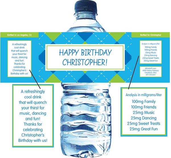 Blue Argyle Water Bottle Label