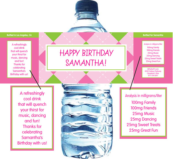 Pink Argyle Water Bottle Label