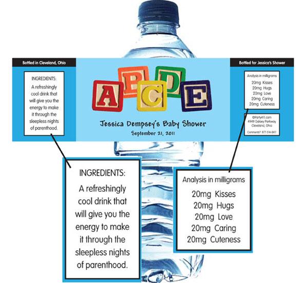 Baby Blocks Water Bottle Label
