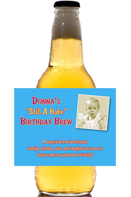 Birthday Babe Theme Photo Beer Bottle Label