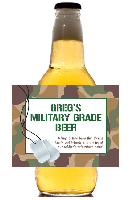 Camouflage Theme Beer Bottle Label