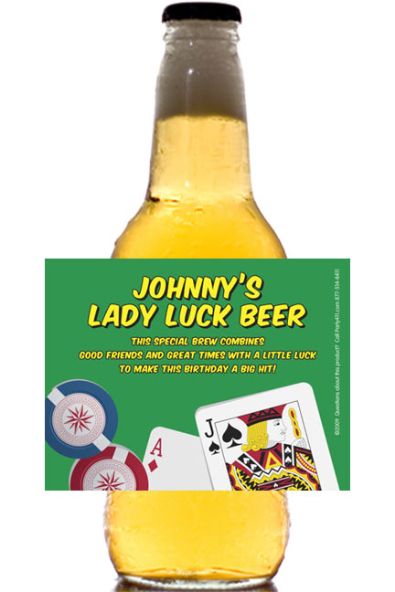 Casino Cards Theme Beer Bottle Label