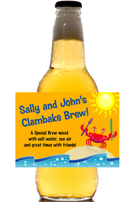 Crab and Clambake Theme Beer Bottle Label