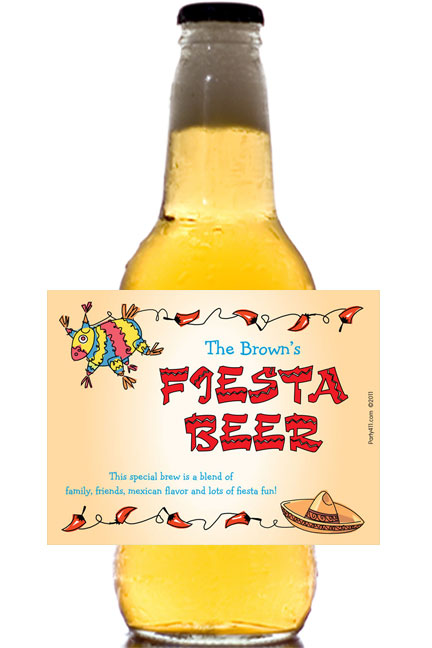 A Fiesta Theme Party Beer Bottle Label
