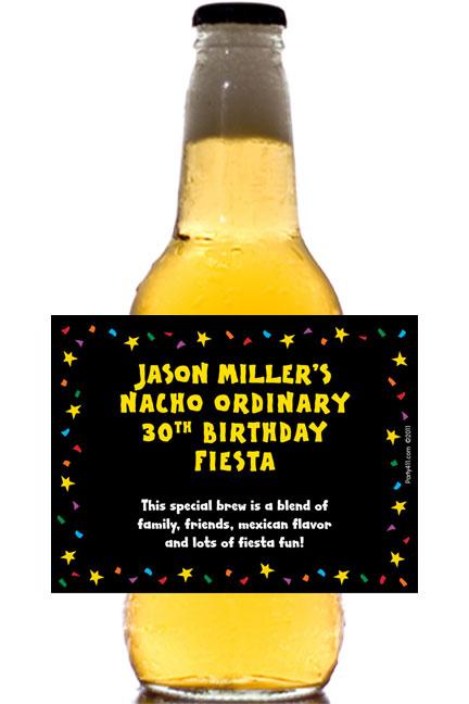A Fiesta Bash Theme Beer Bottle Label