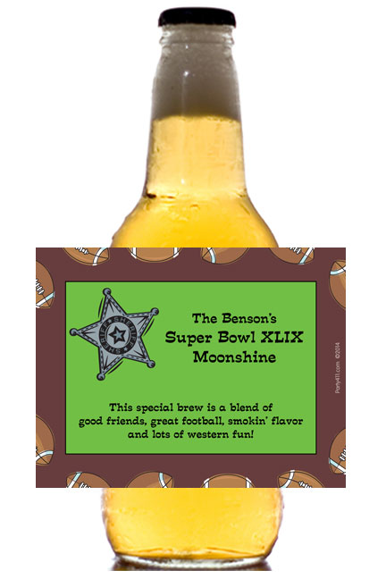 Football Texas Style Theme Beer Bottle Label