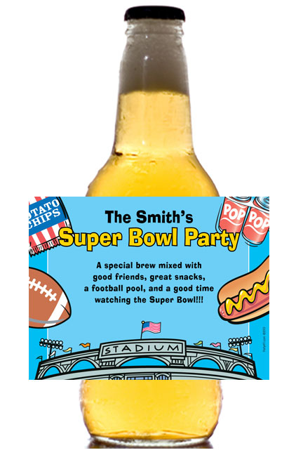 Football Stadium Theme Beer Bottle Label