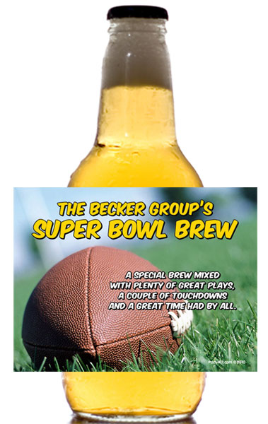 Football Bash Theme Beer Bottle Label