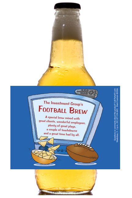 Football Kick Off Theme Beer Bottle Label