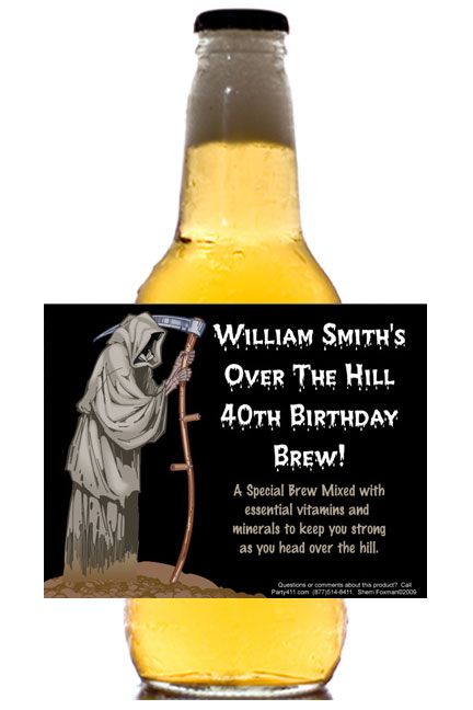 Over The Hill Grim Reaper Theme Beer Bottle Label