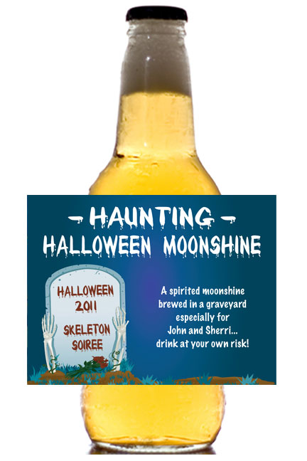 Halloween Grave Theme Beer Bottle Label