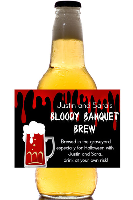 Halloween Bloody Banquet Theme Beer Label