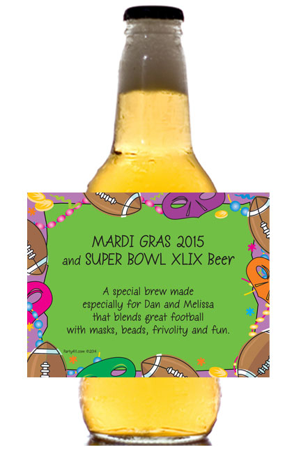 Mardi Gras Super Bowl Theme Beer Bottle Label