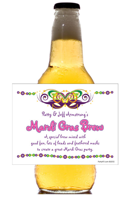 Mardi Gras Ball Theme Bottle Label, Beer