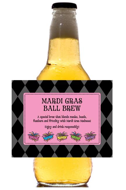 Mardi Gras Masks Theme Beer Bottle Label