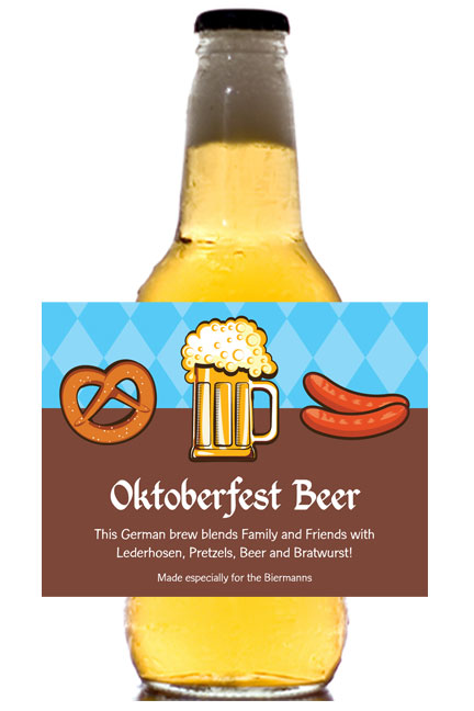 Oktoberfest Food Theme Beer Bottle Label