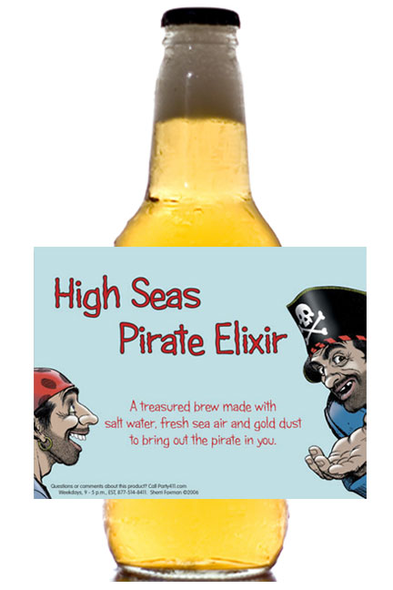 Pirate Theme Beer Bottle Label