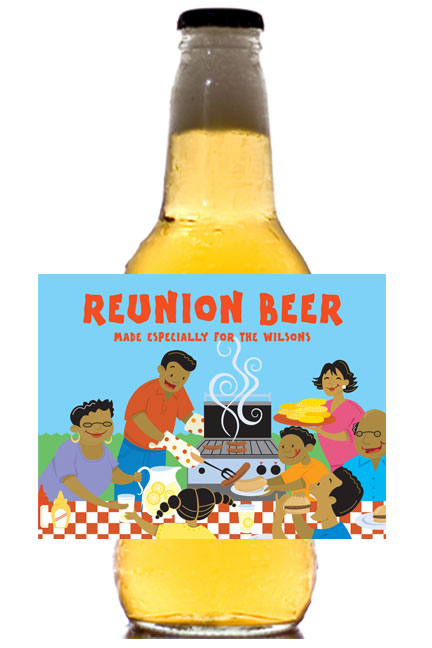 A Family Reunion Theme Beer Bottle Label
