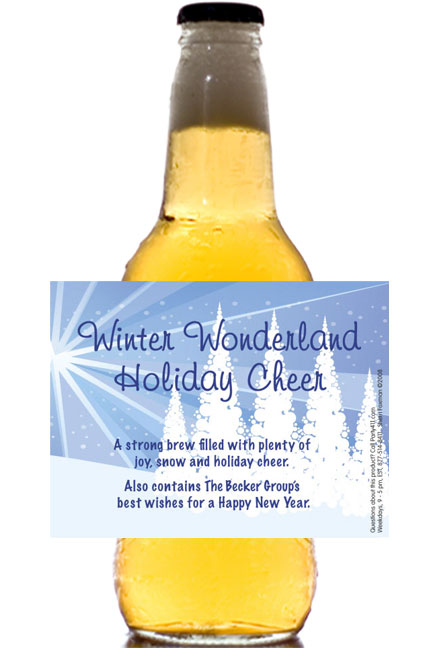 Winter Wonderland Theme Beer Bottle Label