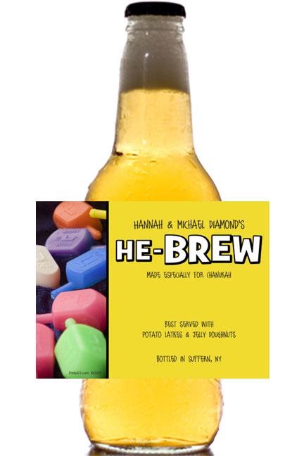 Chanukah Dreidel Theme Beer Bottle Label