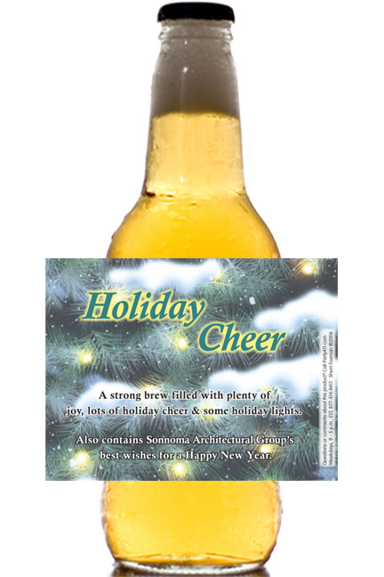 Winter Holidays Theme Beer Bottle Label