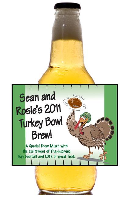 Thanksgiving Turkeybowl Theme Beer Bottle Label