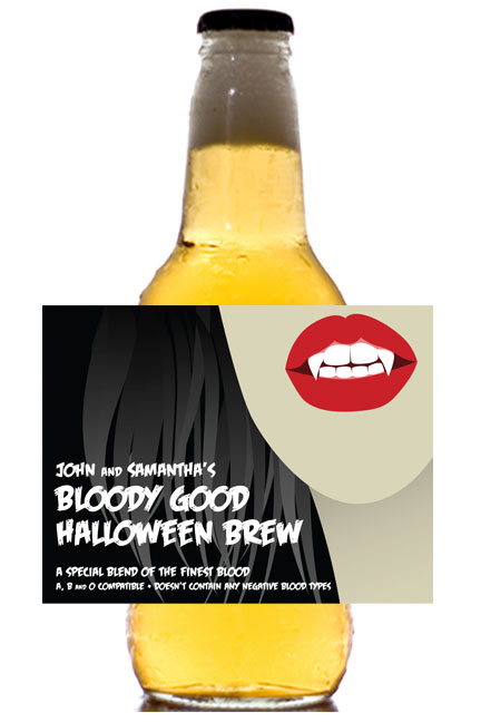 Halloween Vampire Theme Beer Label