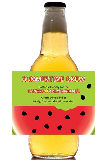 Watermelon Theme Beer Bottle Label