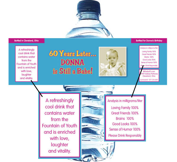 Birthday Babe Theme Photo Water Bottle Label