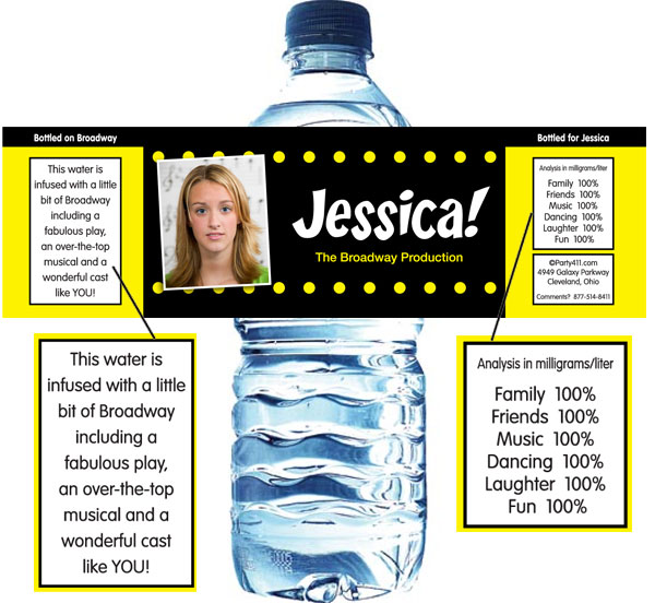 Broadway Lights Water Bottle Label