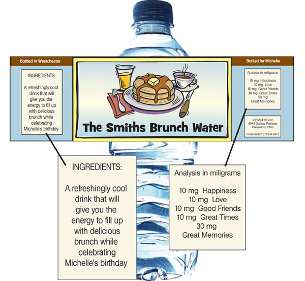 Brunch Theme Bottle Label