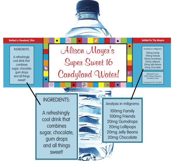 Candyland Theme Water Bottle Label