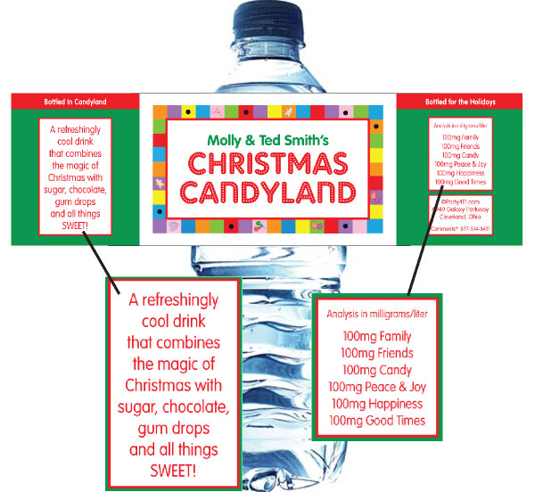 Christmas Candyland Water Bottle Label