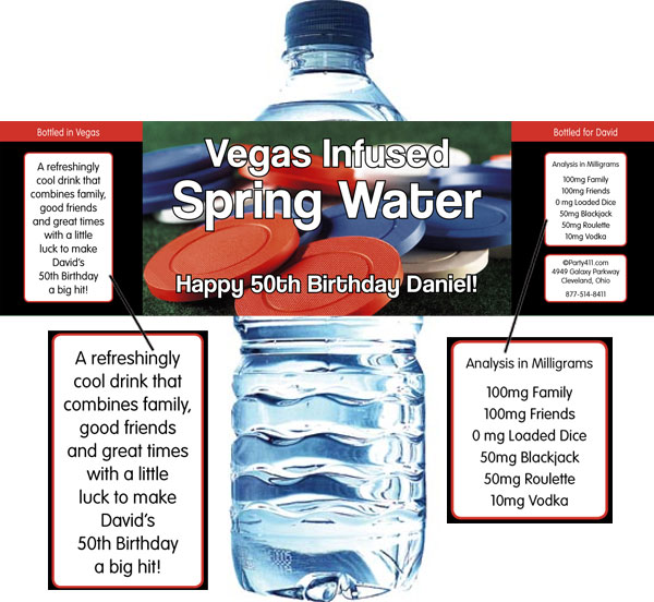 Casino Chips Theme Water Bottle Label